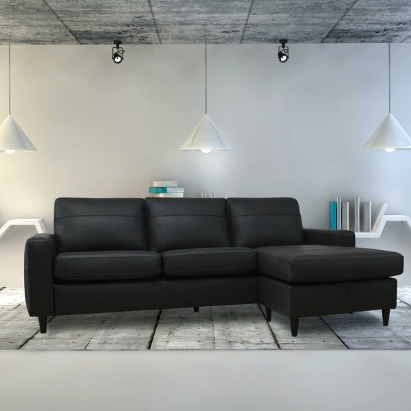Debbra Leather Reversible Sectional by Ivy Bronx