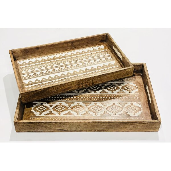 Marcela Hand-Carved Wood 2 Piece Serving Tray Set by Union Rustic