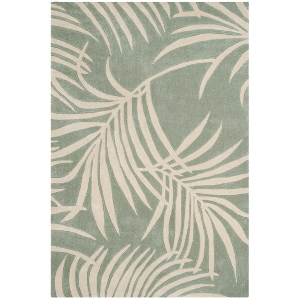 Palmnue Hand-Hooked Beige/Gray Area Rug by Bay Isle Home