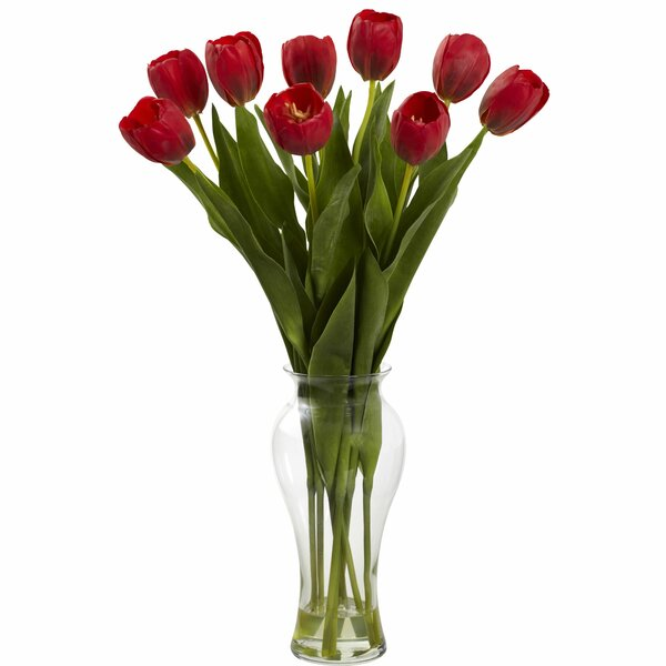 Tulips with Vase by Nearly Natural