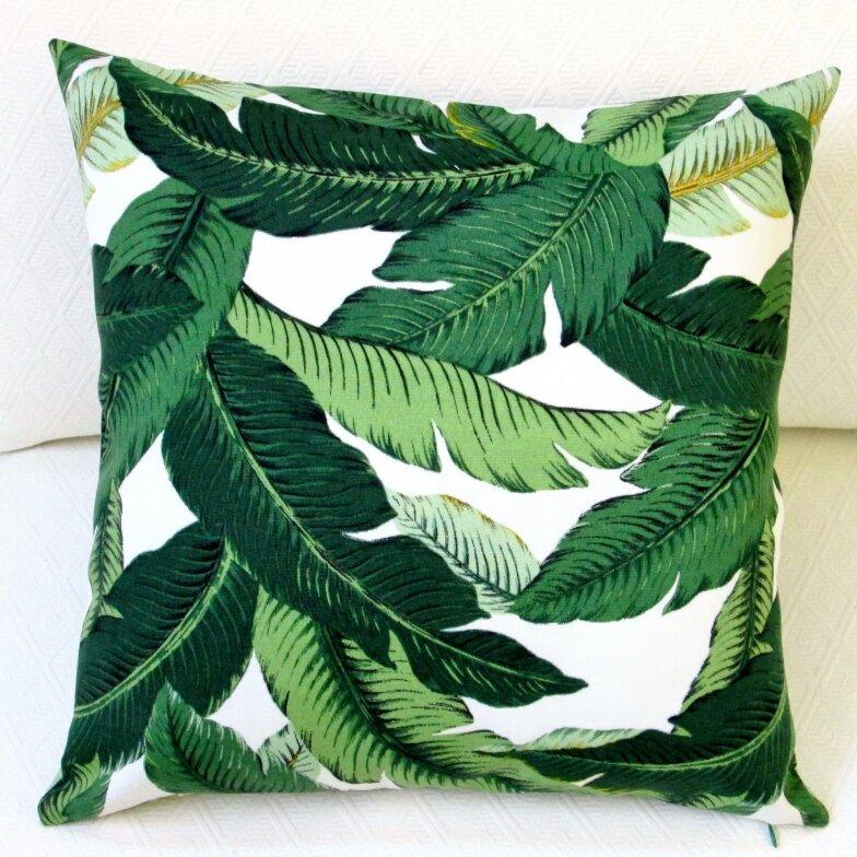 Artisan Pillows Emerald Tropical Palm Leaf Indoor Outdoor Throw