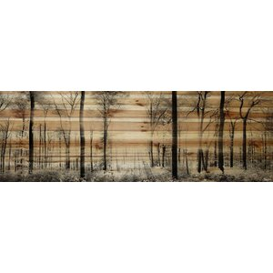 'Panoramic Forest' Graphic Print on Natural Pine Wood by Parvez Taj