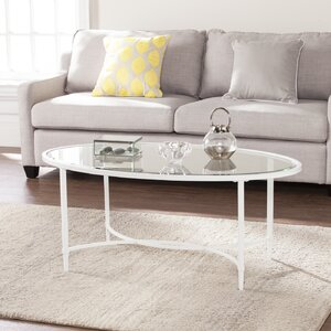 Prestridge Metal/Glass Oval Coffee Table Varick Gallery