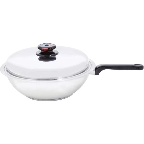 9.75 Stainless Steel Wok or Fry Pan with Lid by Chef's Secret