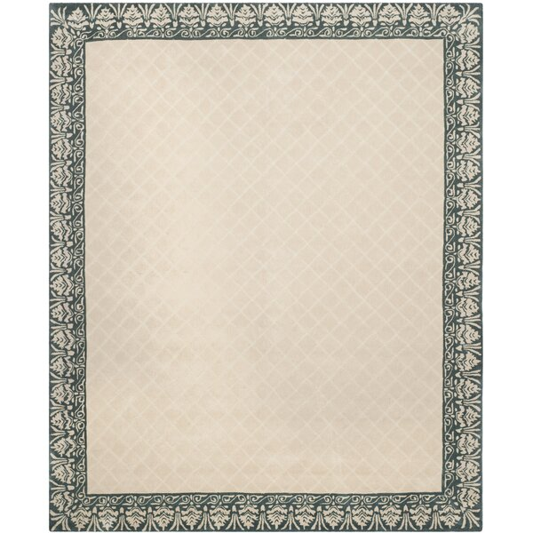 Caine Hand Tufted Ivory/Green Area Rug by Darby Home Co