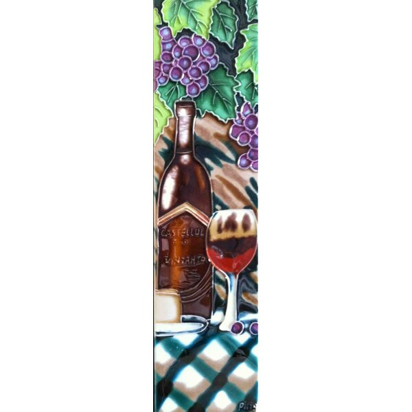 Wine with Table Cloth Tile Wall Decor by Continental Art Center