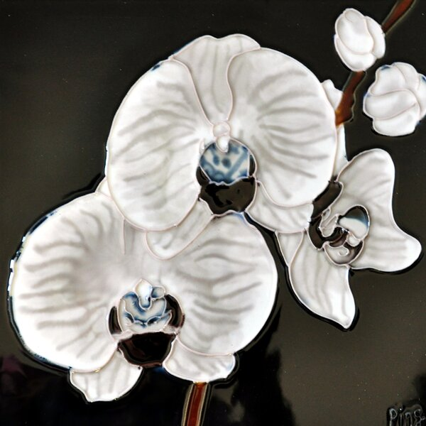 White Orchid Tile Wall Decor by Continental Art Center