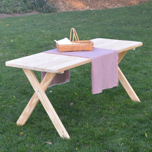 Tristan Pine Cross-leg Picnic Table by Loon Peak