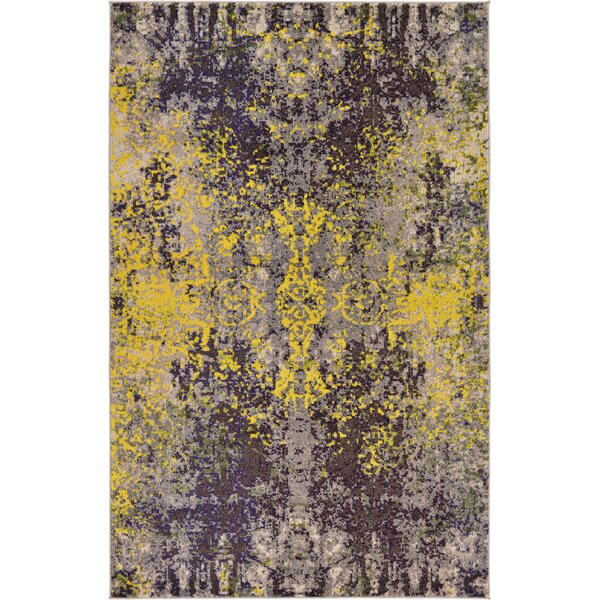 Fujii Gray/Yellow Area Rug by Bungalow Rose