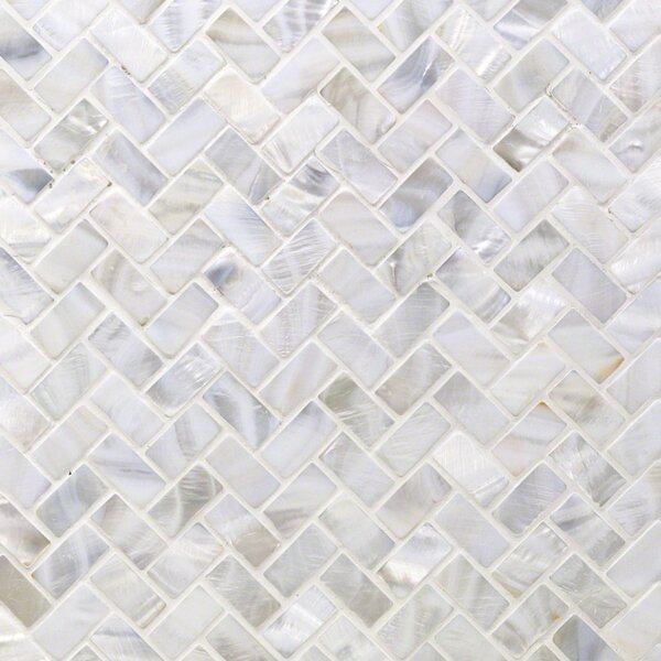 Pacif Random Sized Glass Pearl Shell Mosaic Tile in Polished White/Pearl by Splashback Tile