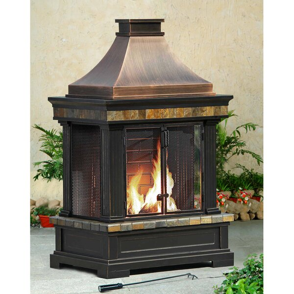 Brownston Steel Wood Burning Outdoor Fireplace by Sunjoy