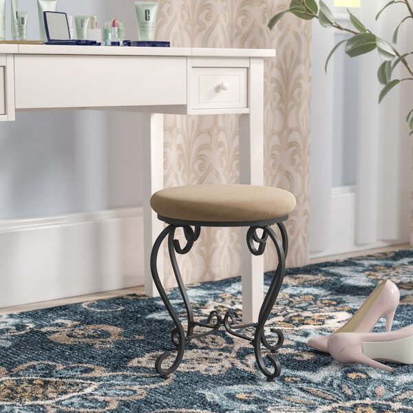Steffes Round Iron Vanity Stool by Charlton Home