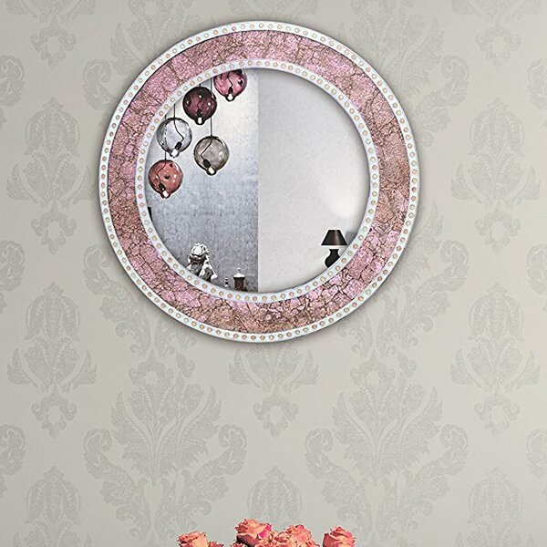 Herve Rose Framed Round Crackled Glass Mosaic Accent Mirror by Rosdorf Park