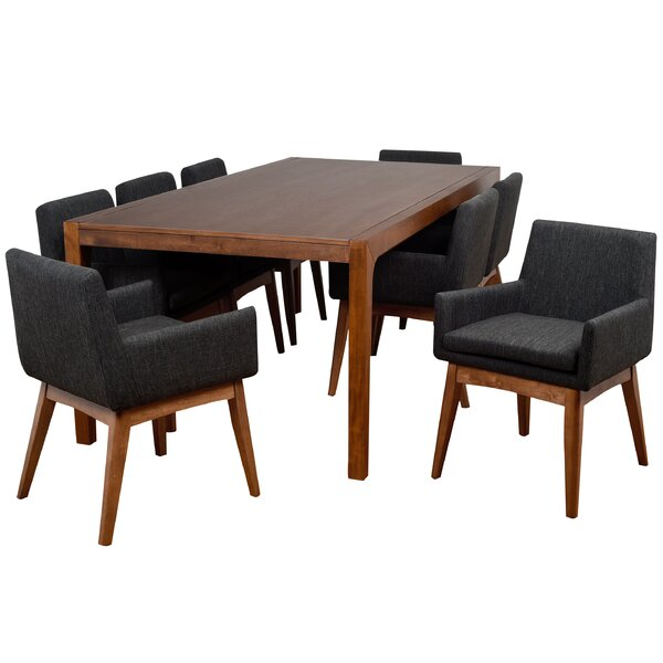 Perla 9 Piece Solid Wood Dining Set by Corrigan Studio