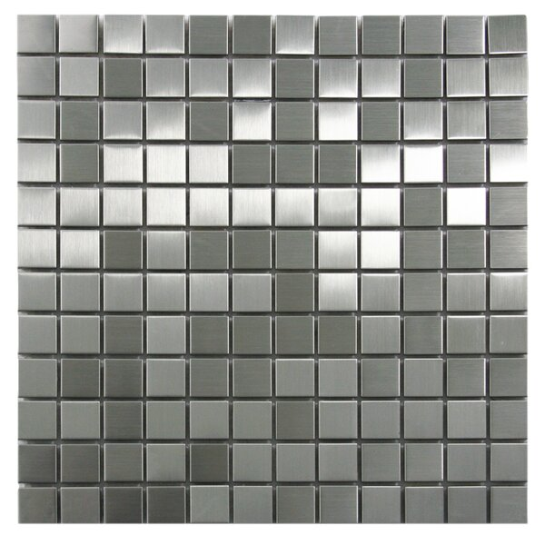 1 x 1 Stainless Steel Mosaic Tile in Silver by CNK Tile