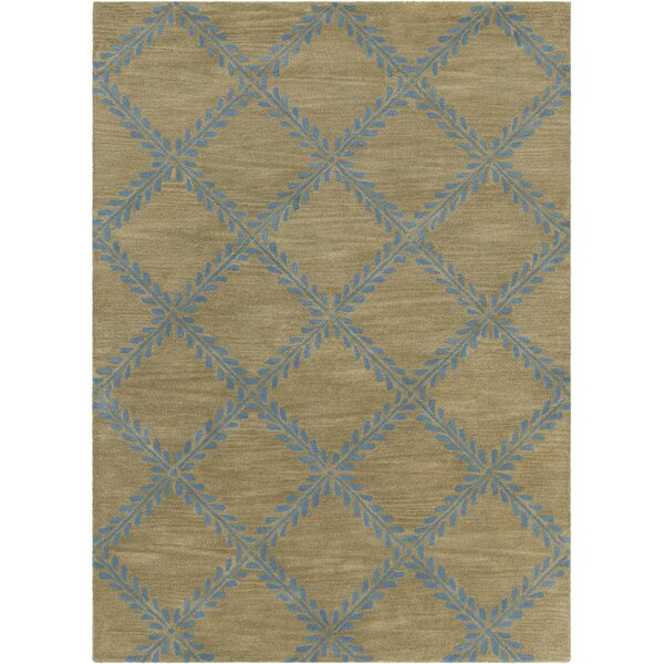 Dollins Hand Tufted Rectangle Contemporary Blue/Tan Area Rug by House of Hampton