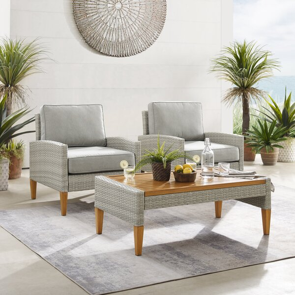 Meacham Outdoor 3 Piece Seating Group with Cushions by Bayou Breeze