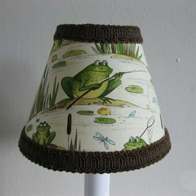 Fishing Frogs 5 Fabric Empire Candelabra Shade by Silly Bear Lighting