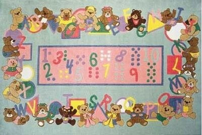 Supreme Teddies and Letters Alphabet Area Rug by Fun Rugs