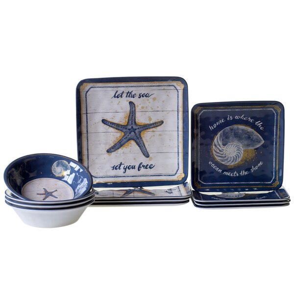 Calm Seas Heavy Weight Melamine 12 Piece Dinnerware Set, Service for 4 by Certified International