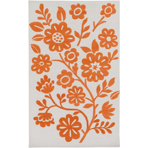 Church Hand-Hooked Orange/Neutral Area Rug by Ebern Designs
