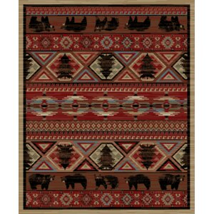 Lodge King Red Area Rug