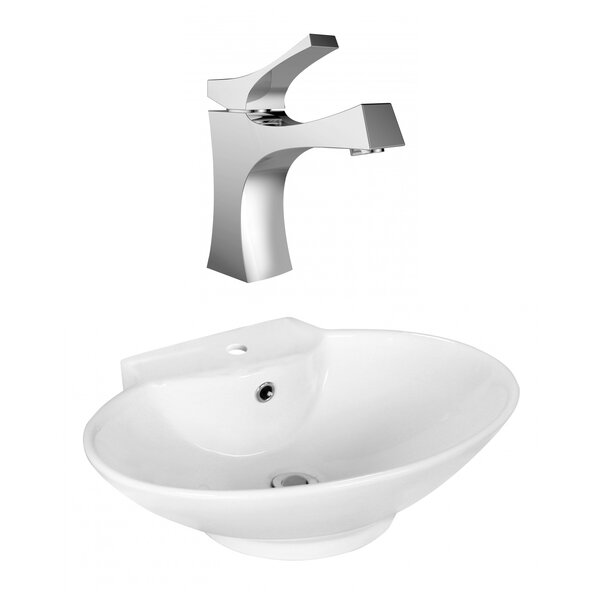 Ceramic Oval Vessel Bathroom Sink with Faucet and Overflow by Royal Purple Bath Kitchen