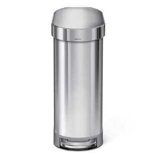 Check Prices 45 Liter Slim Step Stainless Steel Trash Can with Liner Rim Rose Bysimplehuman