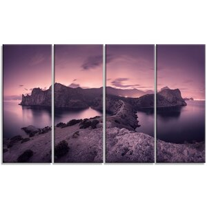 'Purple Night Sky at Mountains' 4 Piece Photographic Print on Wrapped Canvas Set by Design Art