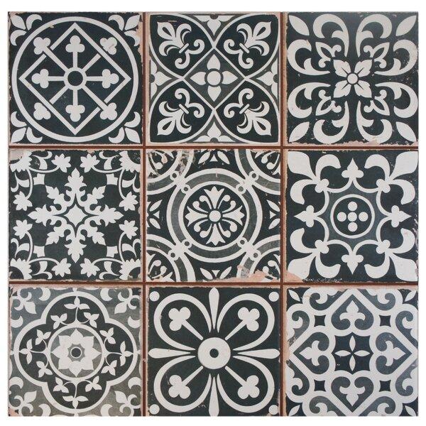 Faventie Nero 13 x 13 Ceramic Field Tile in Black/White by EliteTile