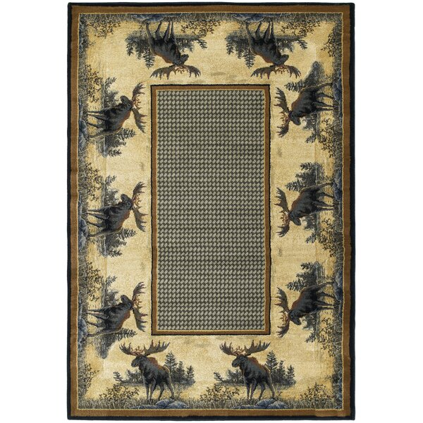 Hautman Northwood Moose Beige/Blue Area Rug by Hautman Brothers Rugs