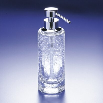 Crackled Tall Round Crystal Glass Soap Dispenser by Windisch by Nameeks