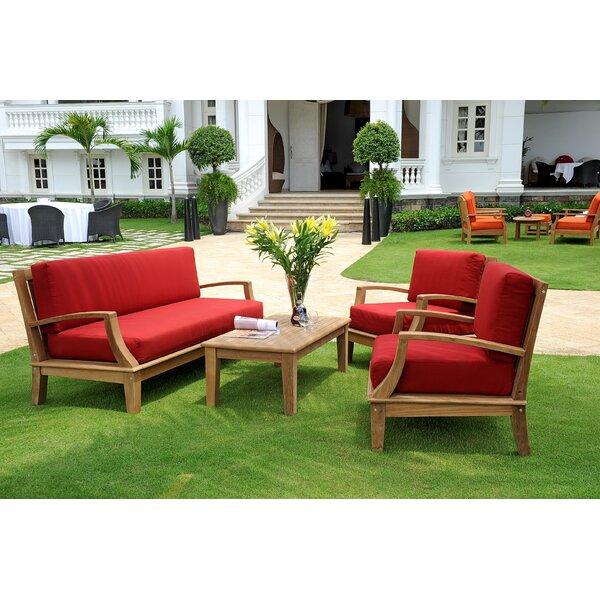 Bainum Teak 4 Piece Sunbrella Sofa Set with Cushions by Darby Home Co