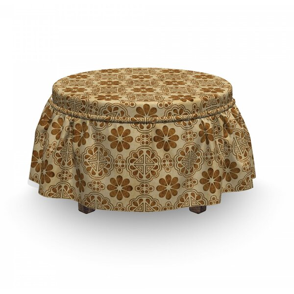 Oriental Geometric Flower Ottoman Slipcover (Set Of 2) By East Urban Home