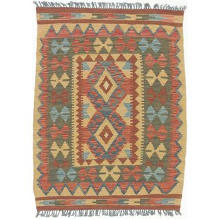 One-of-a-Kind Malvina Handwoven Flatweave 2'9 x 3'8 Wool Red Area Rug by Millwood Pines