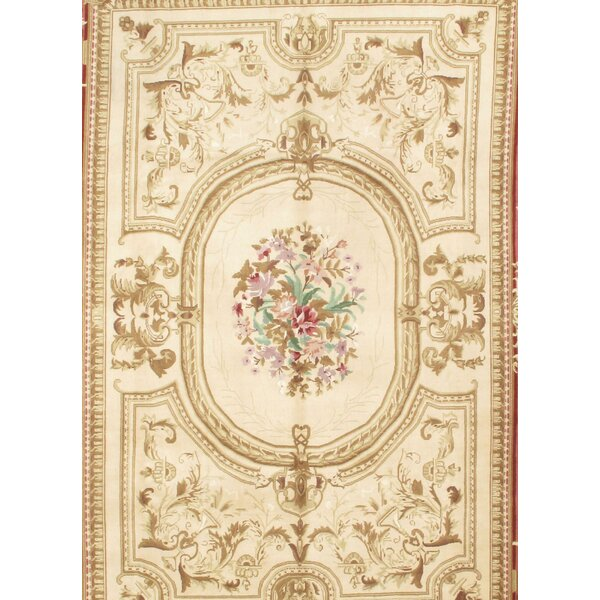 Sino Savonnerie Hand-Knotted Wool Ivory/Rust Area Rug by Pasargad NY