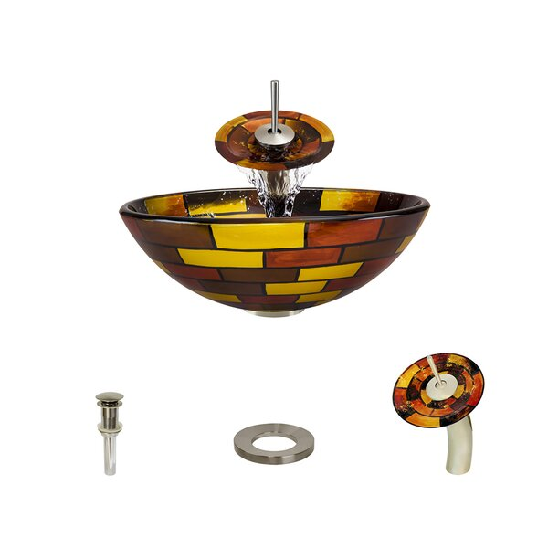 Glass Circular Vessel Bathroom Sink with Faucet