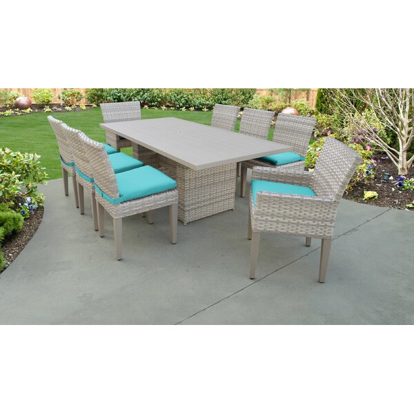Fairmont 9 Piece Outdoor Patio Dining Set with Cushions by TK Classics