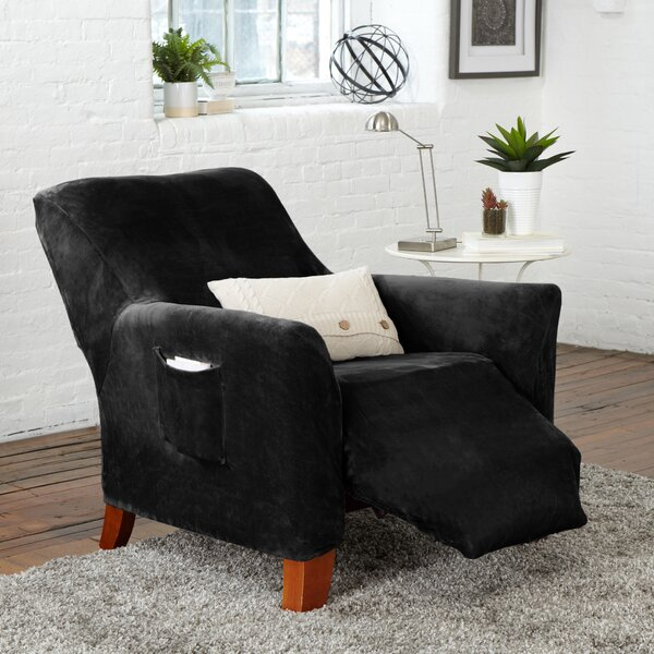Shoping Velvet Plush Form Fit Stretch Box Cushion Recliner Slipcover