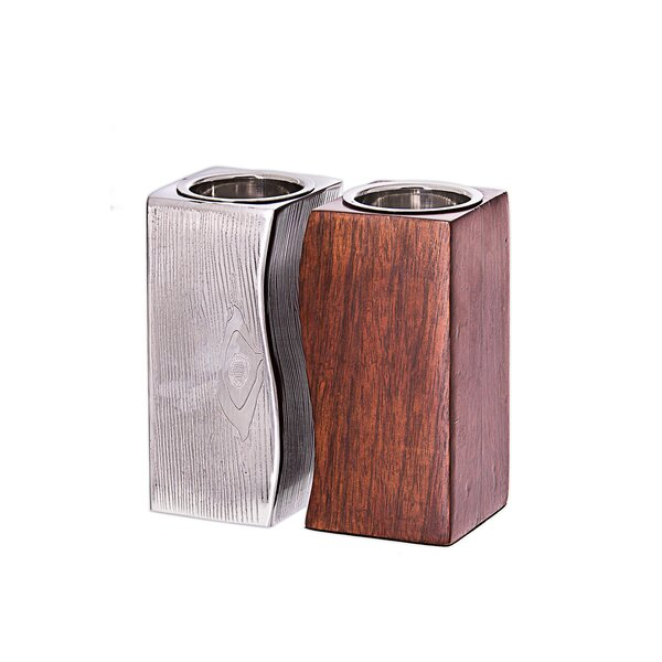 Tervy Wood Tea Light (Set of 2) by Classic Touch