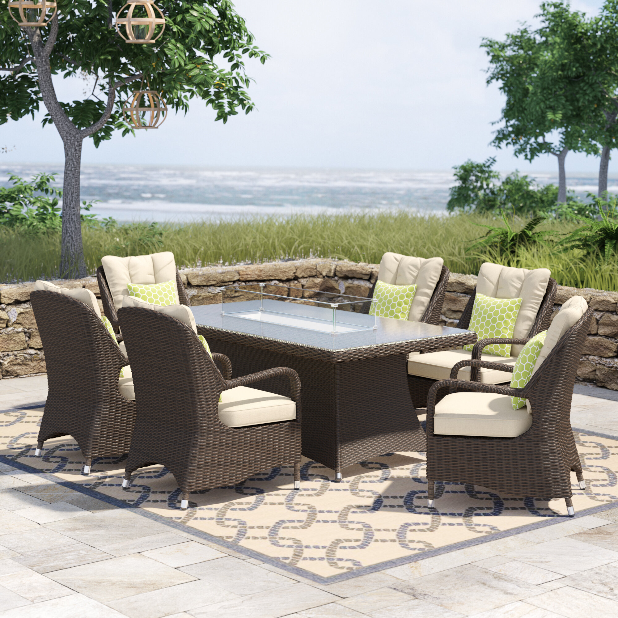 Red Barrel Studio Anderer 7 Piece Dining Set With Cushions Reviews Wayfair Ca
