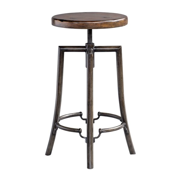Oscar Adjustable Height Swivel Bar Stool by 17 Stories