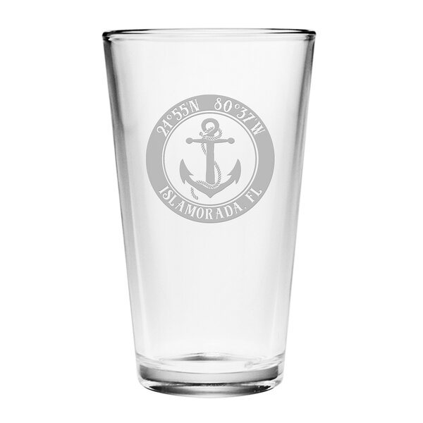 Galvez Anchor 16 oz. Glass Pint Glass (Set of 4) by Longshore Tides