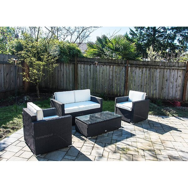 Rhymer 4 Piece Rattan Sofa Seating Group with Cushions by Wrought Studio