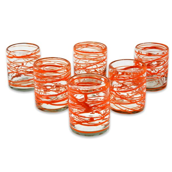 Tangerine Swirl 10 oz. Rocks Glass (Set of 6) by Novica