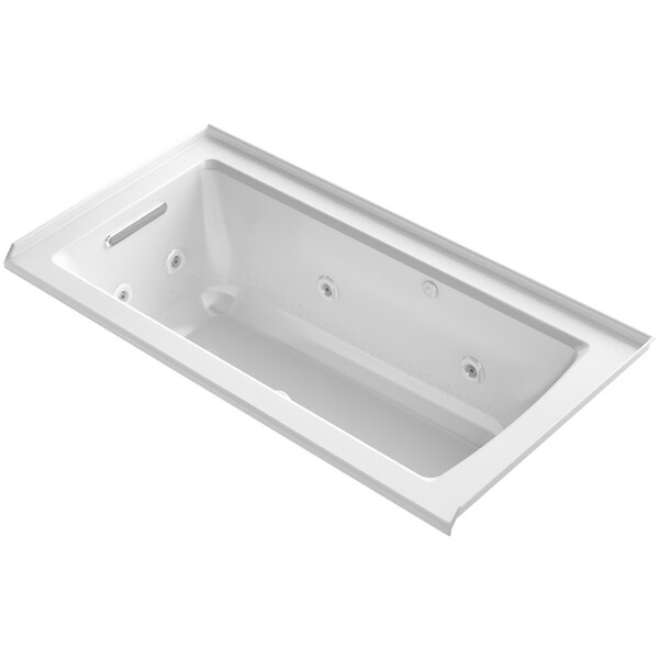 Archer Integral Flange Whirlpool and BubbleMassage™ Air Bath with Left-Hand Drain by Kohler