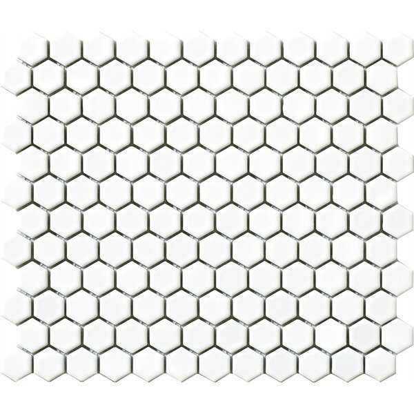 Vintage .75 x .75 Porcelain Mosaic Tile in White Hexagon by Walkon Tile