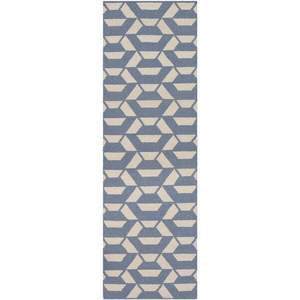 Buttrey Hand-Woven Blue/Neutral Area Rug by Wrought Studio