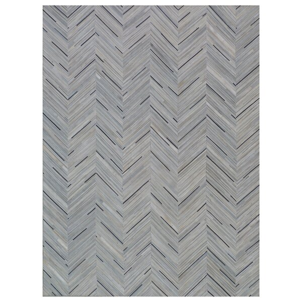 Natural Hide Hand-Tufted Cowhide Silver/Blue Area Rug by Exquisite Rugs