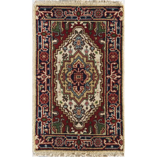Oriole Hand-Knotted Wool Ivory/Blue Area Rug by World Menagerie